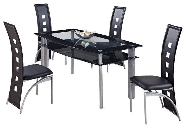 Global Furniture USA 1058DT 5 Piece Black Glass Dining Room Set /w Black  Chairs