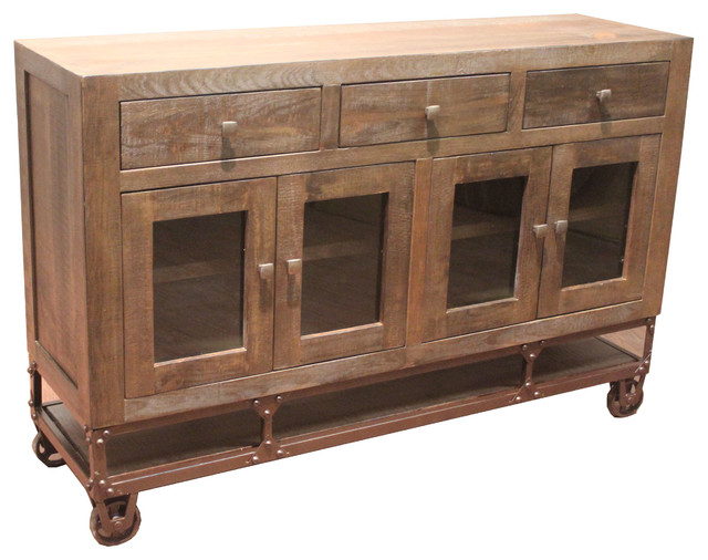 Rustic Style Forged Iron Base Sideboard TV Stand On Wheels Industrial Buffets And