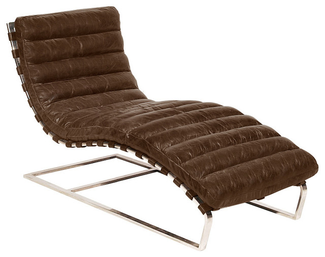Oviedo Leather Chaise Lounge Vintage Cigar  sc 1 st  Houzz : chair chaise lounge - Cheerinfomania.Com
