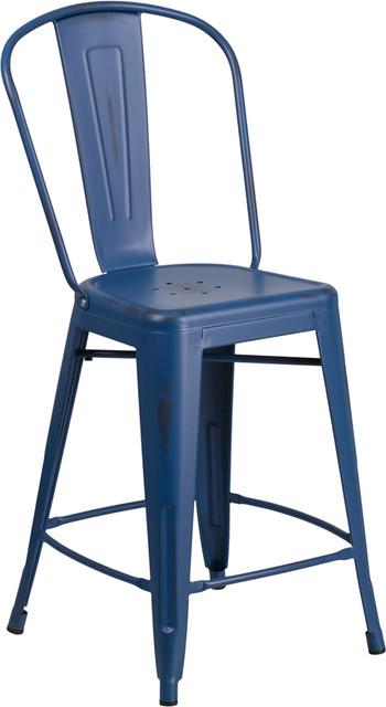 Dixon Distressed Metal Indoor/outdoor Stackable Chair, Antique Blue.