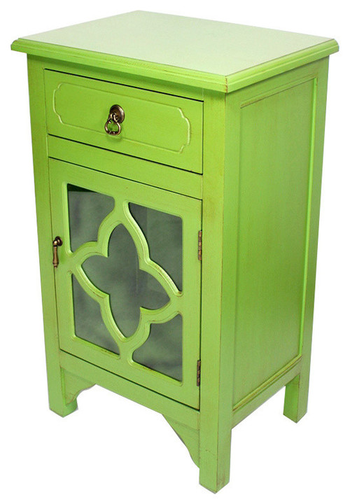 1-Drawer, 1-Door Accent Cabinet, Quatrefoil Glass Inserts, MDF, Wood Clear Glass