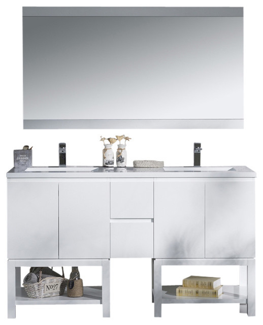 "vanity emmet 60"" with double sink integrated solid surface top"