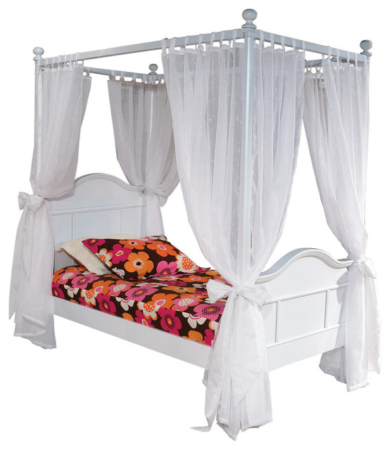 Emma 4-Post Twin Bed With Tall Head Board, White.