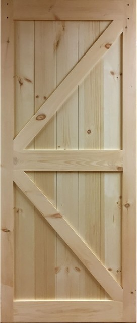 "Kimberly Bay Barn Door, K-Rail Unfinished Solid Pine, 36""x83.5""."