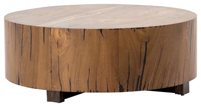 Redding Rustic Lodge Round Wood Tree Trunk Coffee Table Rustic