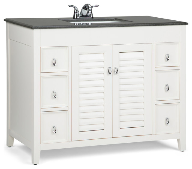 Adele 42 Inch Bath Vanity With Black Granite Top Beach Style Bathroom Vanities And Sink Consoles By Simpli Home Ltd Houzz