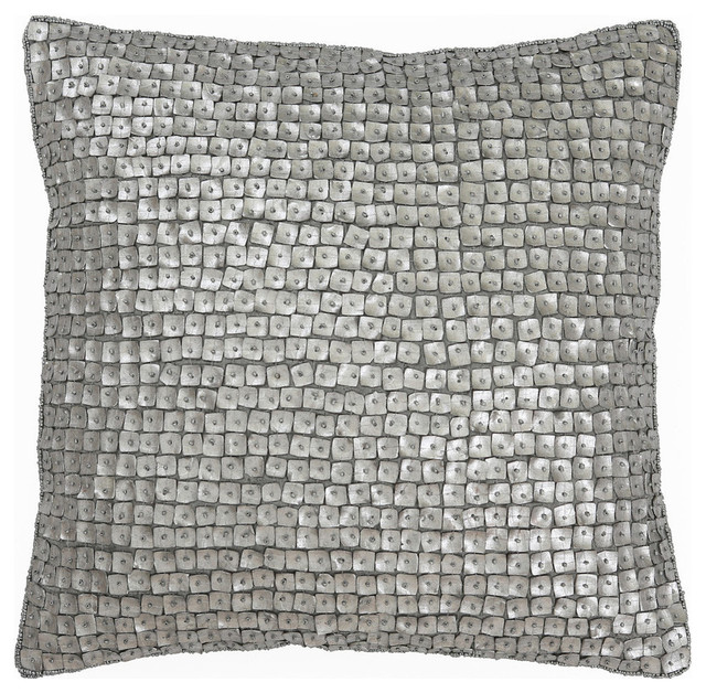 "Mother of Pearl Decorative Pillow, Silver, 18""x18"""