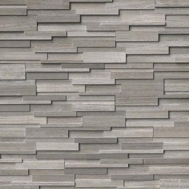 "Gray Oak 3D Honed Stacked Stone Marble Ledger Panels, 6""x24"" Panel, 20 Sq. ft."