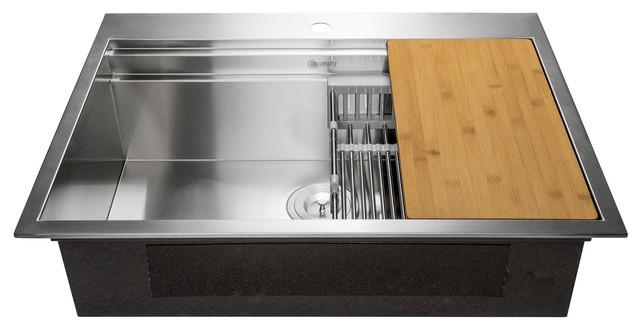"""Akdy 33""""x22""""x9"""" Top Mount Handmade Stainless Steel Kitchen Sink."""