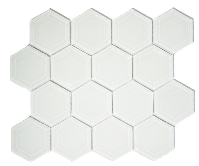 White Hexagon Beveled Glass Tile, Sample.