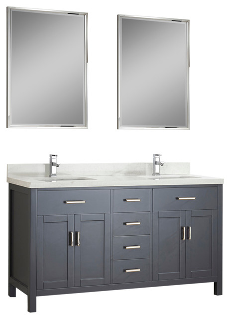 Mansfield Vanity, Solid Marble, Charcoal, 63.