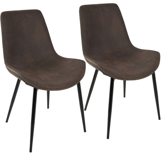 Dorian Dining Chairs, Set of 2, Black and Espresso