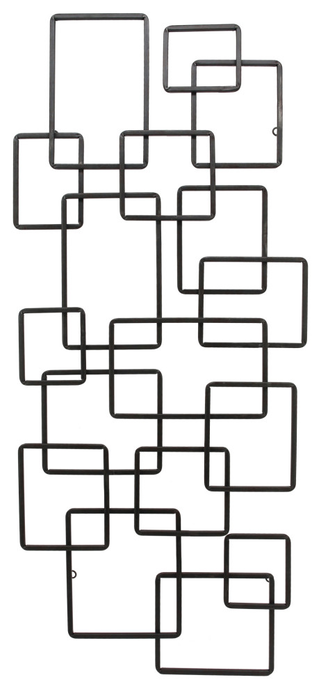 Steel Squares Wall Decor Black Contemporary Wall Sculptures By Buildcom