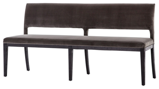 Sierra Dining Bench, Washed Velvet Gray, Drifted Black.