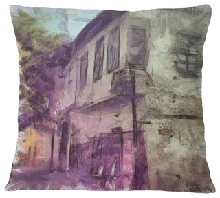 Old City Street Watercolor Sketch Cityscape Throw Pillow Contemporary Decorative Pillows By Design Art Usa
