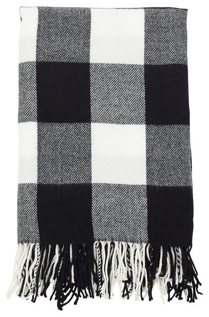 Buffalo Plaid Checkered Tassel Throw, Black