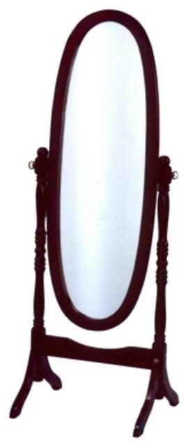 Wooden Full-Length Mirror, Cherry Red.