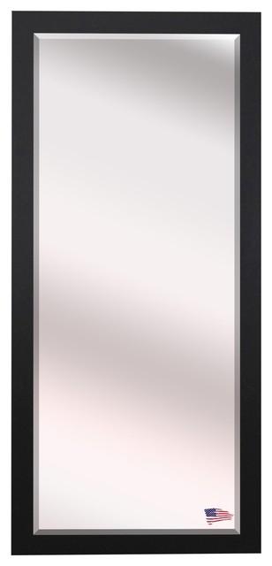 Us Made Black Satin Wide Beveled Oversized Full Body Mirror, Oversized.