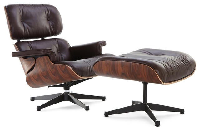 Swell Modern Lounge Chair And Ottoman Dark Brown Leather Rosewood Palisander Finish Ncnpc Chair Design For Home Ncnpcorg