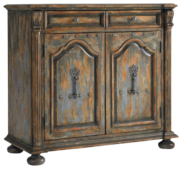 Two Door Two Drawer Chest With Bun Feet Rustic Accent Chests