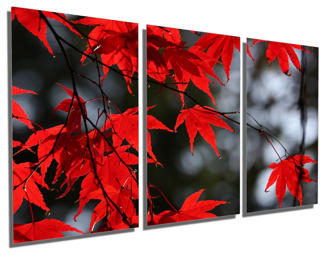 Triptych Wall Art red maple leaves metal print wall art, 3 panel split, triptych
