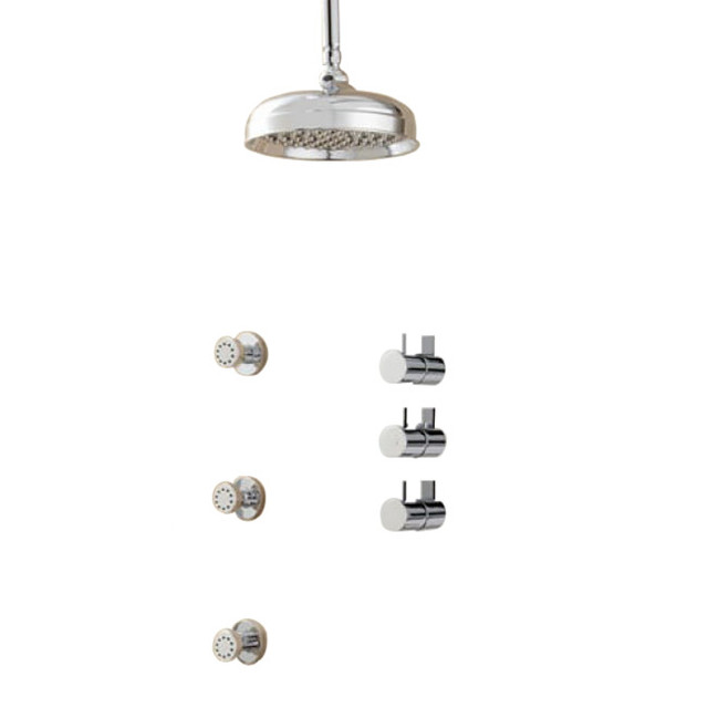 Juno Showers Thermostatic Shower System With Rainfall Round Shower Head Tub