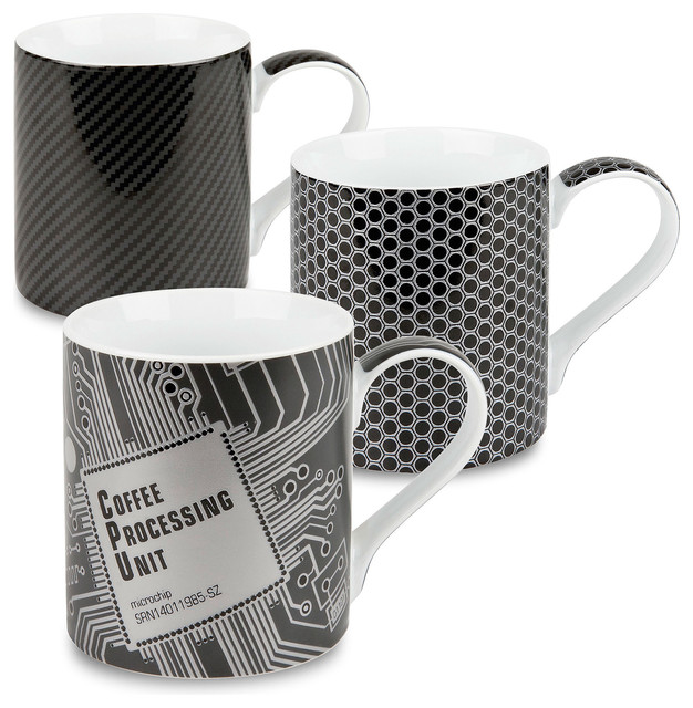u201ccoffee processing unitu201d hightech mugs set of 3