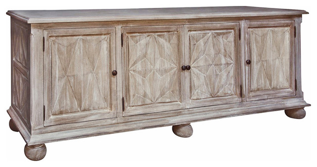 Dax French Country Weathered Wood Sideboard Buffet Cabinet