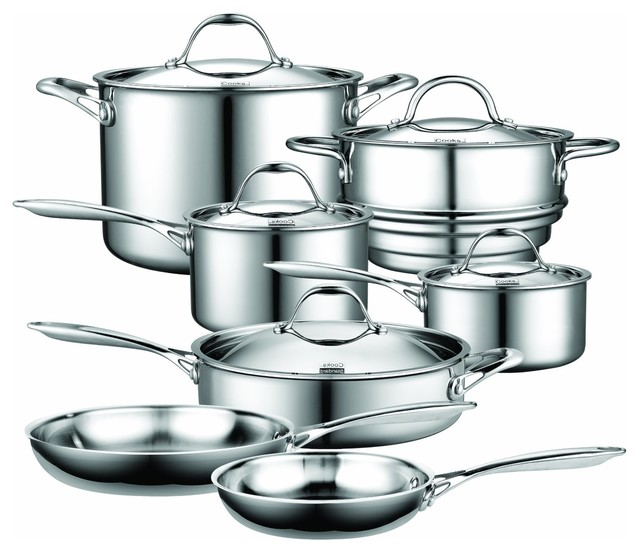 Cooks Standard 12-Piece Multi-Ply Clad Stainless-Steel Cookware Set.