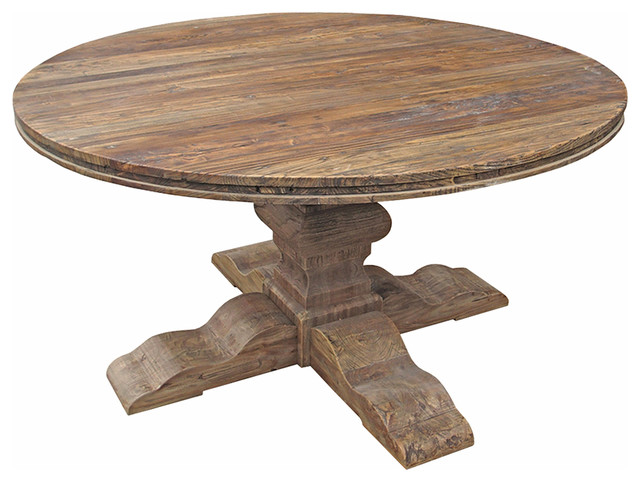 Maris french country reclaimed elm round dining table for Traditional dining table with bench