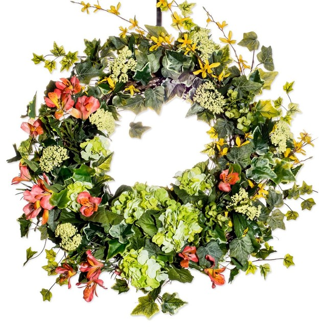 "Hydrangea Forsythia And Alstroemeria Wreath, 30""."
