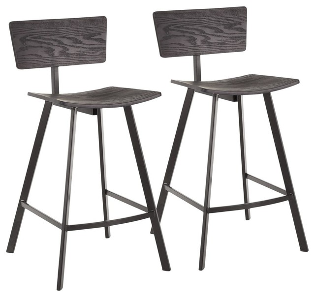 Excellent Rocco Industrial Counter Stool Black Metal And Black Wood Set Of 2 Cjindustries Chair Design For Home Cjindustriesco