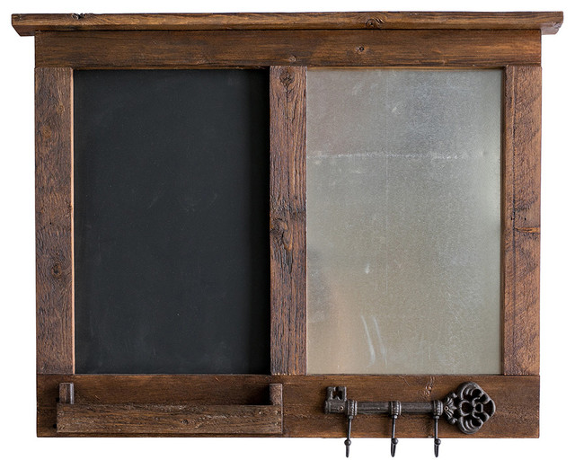 Chalkboard Message Center With Magnet Board, Mail Holder, And Key Hooks.
