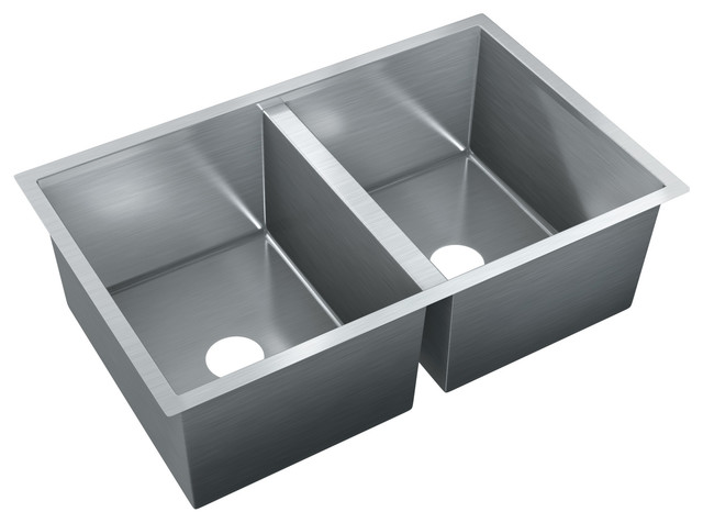 Just double bowl flush mount 18x36x9 stainless steel sink for Just ss sinks