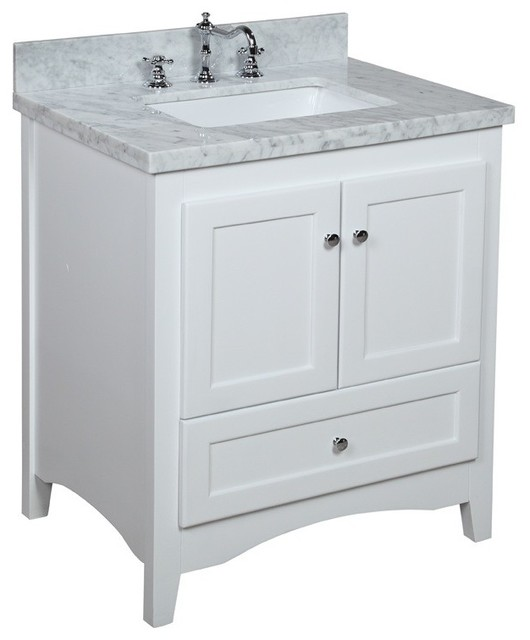 Abbey Bath Vanity Transitional, 30 White Bathroom Vanity With Top