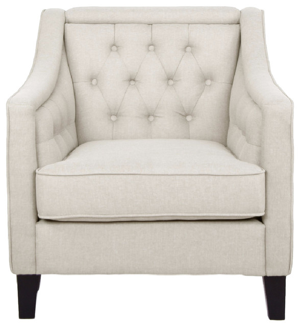 Vienna Classic Retro Beige Fabric Upholstered Button Tufted Armchair, Beige