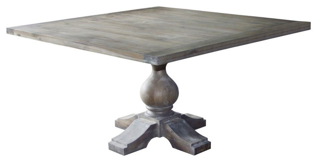 Toffee Finish 55 Square Solid Wood Pedestal Dining Table