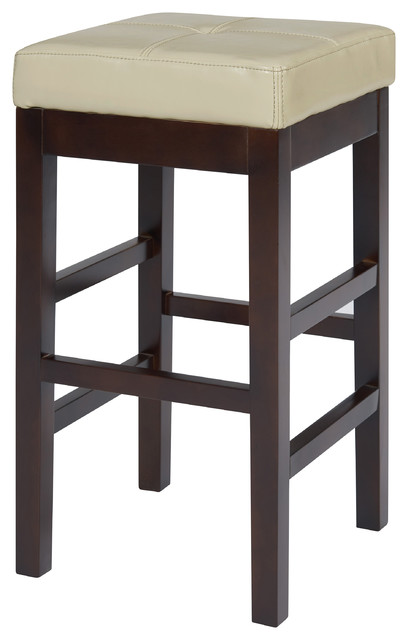 Valencia Backless Bicast Leather Counter Stool, Beige