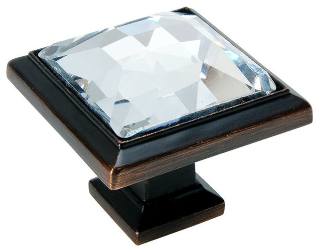 Cosmas 5883ORB C Oil Rubbed Bronze And Clear Glass Square Cabinet Knob,  1 Pack