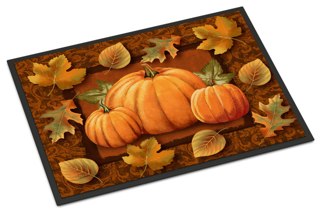 Pumpkins And Fall Leaves Indoor/outdoor Mat, 18x27.