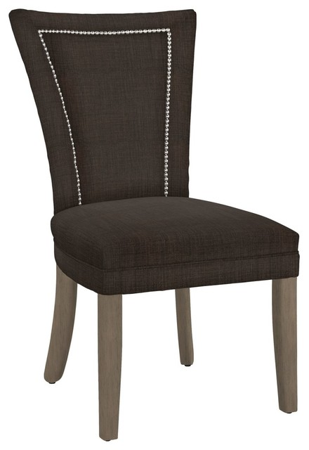 Modern Hekman Woodmark Jeanette Dining Chair With Nickel Nailhead Trim  Contemporary Dining Chairs