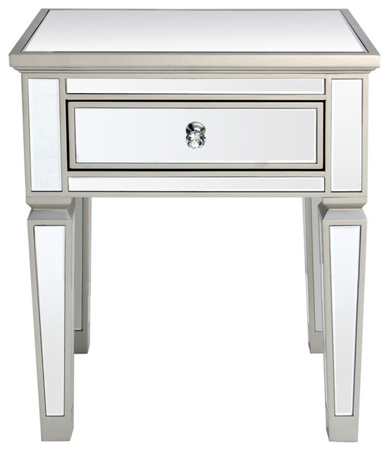 Louis 1-Drawer Mirrored Side Table.