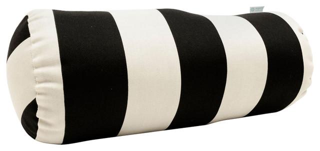 Outdoor Black Vertical Stripe Round Bolster