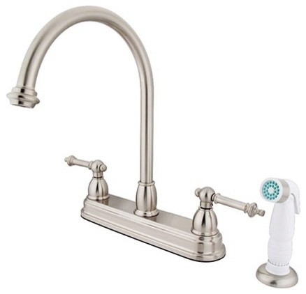 "Templeton Two Handle 8"" Kitchen Faucet With White Sprayer"