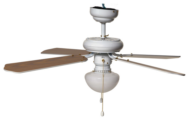 "Boston Harbor Reversible Ceiling Fan, 42"", White."