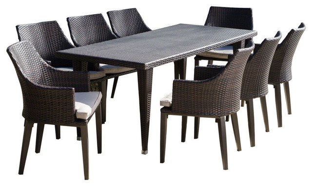 GDF Studio 9-Piece Lenorde Outdoor Wicker Dining Set With Cushions, /Light Brown