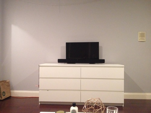 . Empty wall space on bedroom living room wall