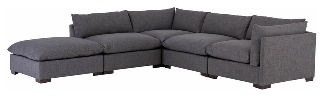 buy online 6e4b0 f47f1 Westworld Modern Gray 5-Piece Modular Lounge Sectional Sofa