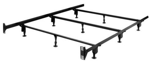 King Size Sturdy Metal Bed Frame With 9-Legs And Headboard Brackets.
