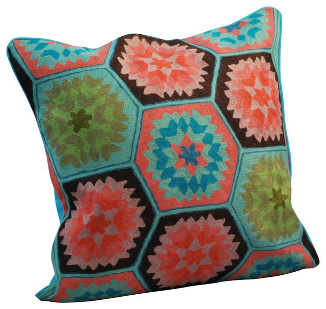 Crewel Work Pillow Vintage Style Blue Decorative Pillows